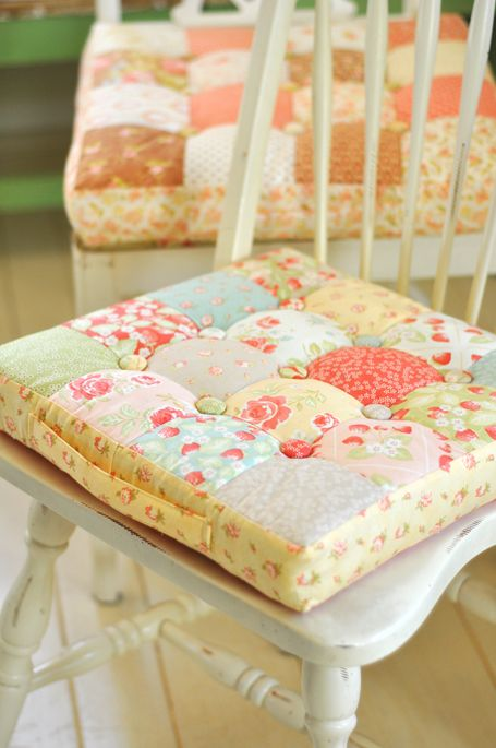 Quilted Chair Cushions For The Beach Cottage Kitchen. And Fig Tree Fabrics  Too.