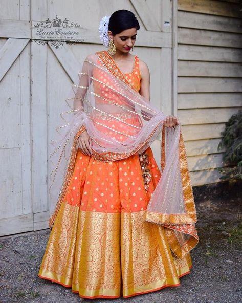 Banarasi Lehenga, Indian Lehenga, Red Lehenga, Patiala Salwar, Silk Dupatta, Brocade Lehenga, Orange Lehnga, Floral Lehenga, Half Saree Designs