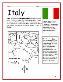 Italy Printable Handout With Map And Flag Italy For Kids World Thinking Day Summer Book List