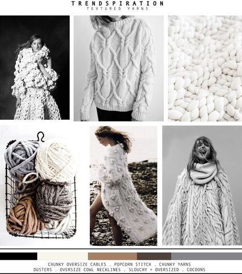 SOURCE OF INSPIRATIONS   OVERSIZED 3D DESIGN/JACQUELINE FINK  PAN AND THE DREAM  |   | LA COOL + CHIC  CHUNKY CABLE CREW   WHITE YARN...