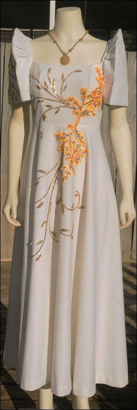 Beige FILIPINIANA DRESS Embroidered and Beaded Maria Clara Mestiza Gown