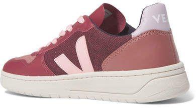 Veja V 10 Leather, Suede And Tweed Sneakers Burgundy
