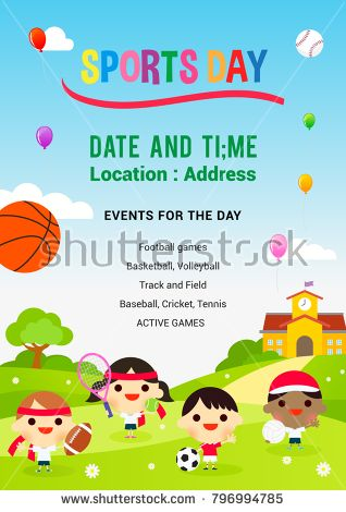 Sports Day Poster Vector Illustration Kids Playing Sports In Spring Field Sports Day Poster Sports Day Kids Playing Sports