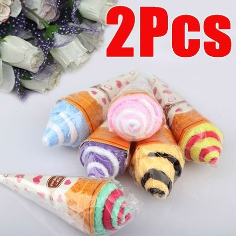 New Portable Double Color Soft Washing Towel Ice Cream Shaped Gift