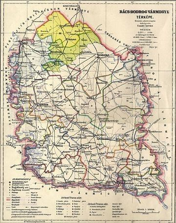 Bacs Bodrog Varmegye Kozigazgatasi Terkepe 1927 Bol A