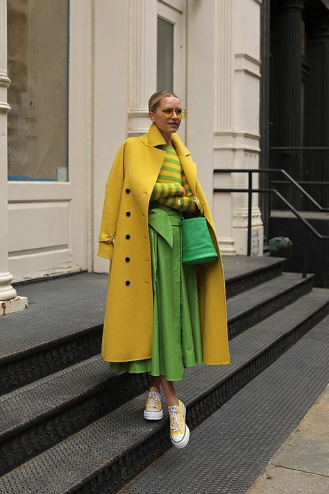 Blair Eadie wears a green tie waist midi skirt by TIbi // On Atlantic-Pacific discussing her newest spring color combinations // Sweater by Michael Kors and bag by Simon Miller // Click through for full look details and more skirt outfits on site