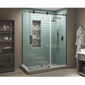 Coraline Xl 44 W X 80 H Single Sliding Frameless Shower Door In 2020 Shower Doors Frameless Shower Doors Bathroom Interior Design