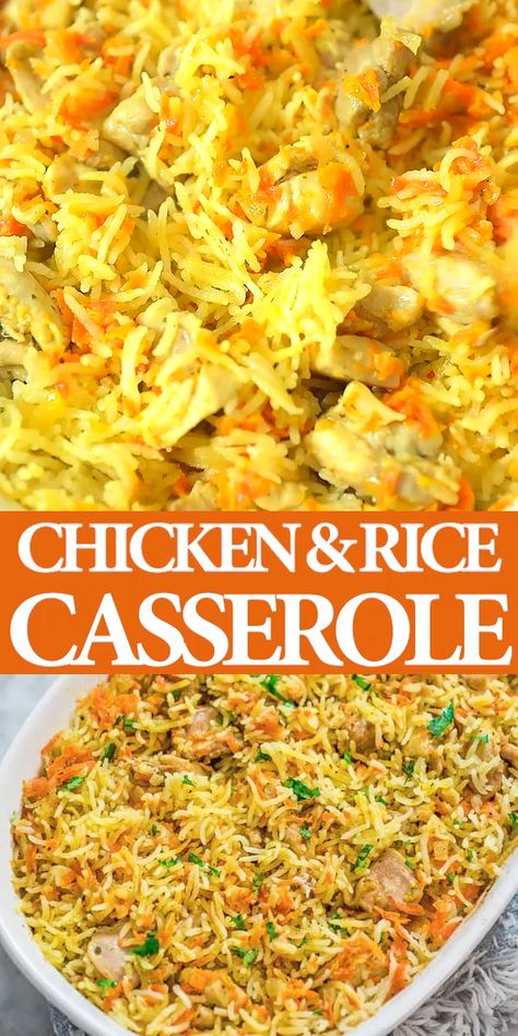 If you are looking for a simple, yet delicious and filling chicken dinner, this Chicken Rice Casserole is just what you need. It is made with simple ingredients and no fuss. While the casserole is in the oven, you can make a quick salad and set the table. FOLLOW Cooktoria for more deliciousness! #chicken #rice #casserole #dinner #lunch #mealprep #recipeoftheday