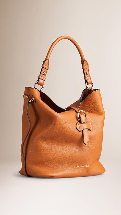 Cognac Medium Buckle Detail Leather Hobo Bag - Image 4