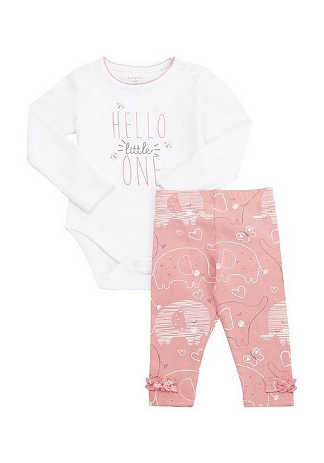 F/&F Pink Baby Leggings With Frills