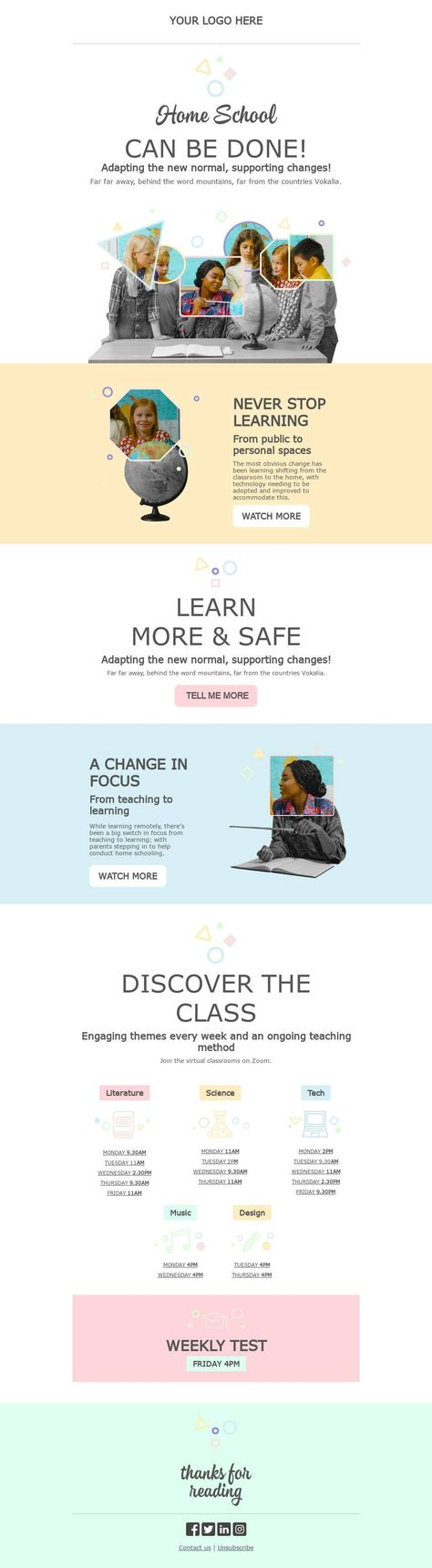 School and the new normal - Email Template