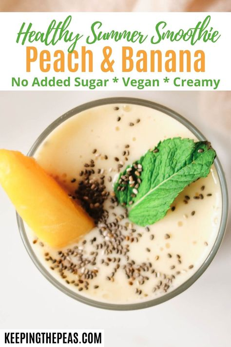This healthy summer smoothie recipe has it all! The flavors of summer come together with fresh peaches, creamy bananas, and a hint of min! Add a few chia seeds for extra protein and omega-3s! It's a refreshing drink to start your day, or have as a mid-day snack!