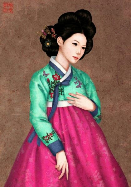 Hanbok illust 한복 일러스트, 지수연