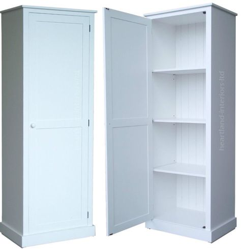 Solid Wood Cupboard 180cm Tall White Painted Linen Pantry