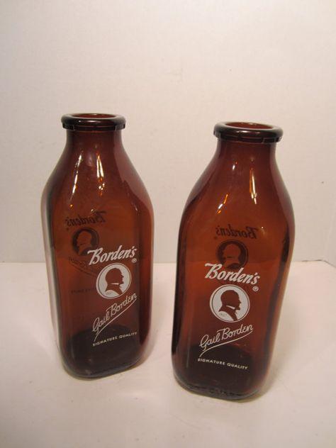 Vintage Amber Bordens Quart Milk Bottle by LadyNinaNana on Etsy, $25.00