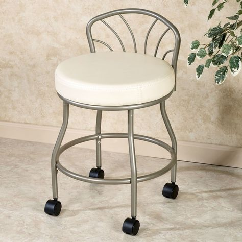 Chrome Metal Vanity Chair With Wheels And Round White