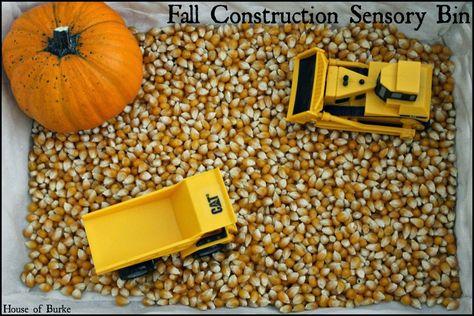 Fall Construction Sensory Bin - House of Burke