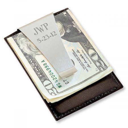 Money Clip for HusbandGift for Brother Monogrammed Leather Money Clip Money Clip for Dad Mens Money Clip Gift Personalized Leather ID Card holder Credit Card Custom Wallet
