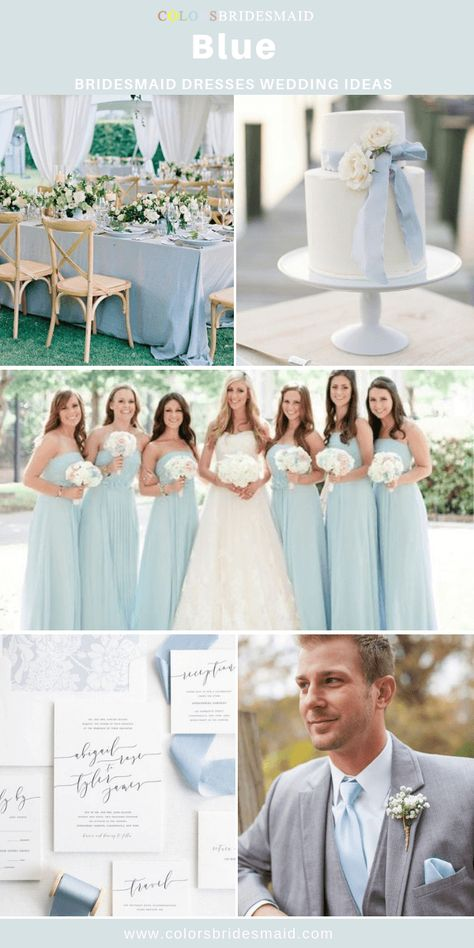 Blue bridesmaid dresses long, wonderful for wedding with white wedding dress, invitations and cakes and light blue table cloth and men's tie.