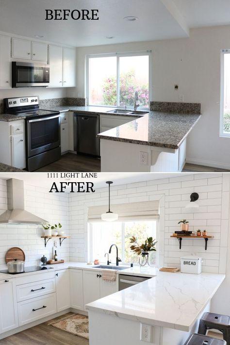 White Semihandmade Kitchen Renovation: Vorher + Nachher #kitchen #nachher #Renovation #semihandmade #vorher #white