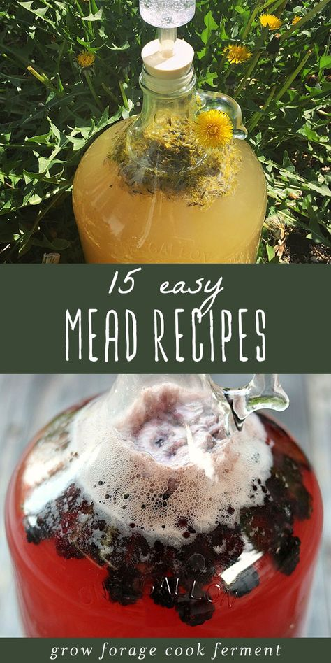 15 Easy Mead Recipes for Beginners Homemade mead is simple, delicious, and fun to make. Here are 15 easy mead recipes for beginners! Learn how to make your own mead. Homemade Wine Recipes, Homemade Alcohol, Homemade Liquor, Honey Recipes, Mead Wine Recipes, Moonshine Recipes Homemade, Brewing Recipes, Homebrew Recipes, Honey Mead