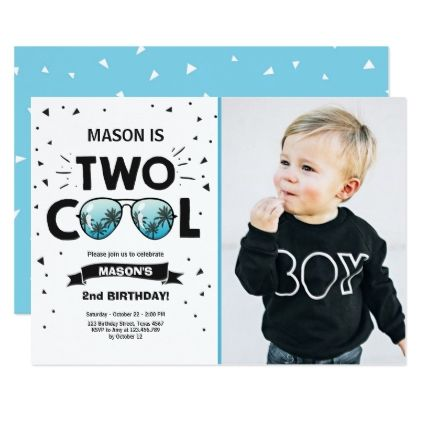 Two Cool Birthday Invitation Boy 2nd Birthday Blue Zazzle
