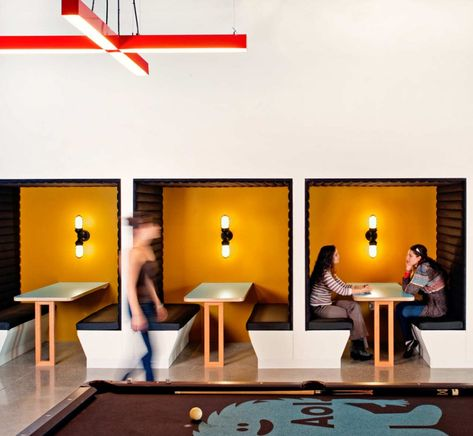 Office & Workspace: Relax Or Discuss Work Area In Some Private Booths Corner And Black Leather Seating Design Ideas At AOL Office: Inspiring Modern Offices Design in Silicon Valley