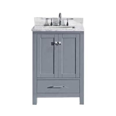Virtu Usa Caroline Avenue 25 In W Bath Vanity In Gray With Marble