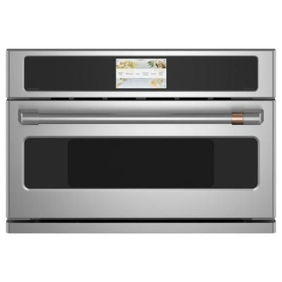 Cafe 30 In 1 7 Cu Ft Smart Electric Wall Oven And Microwave Combo With 120 Volt Advantium Technology In Stainless Steel Csb913p2ns1 Built In Microwave Electric Wall Oven Wall Oven