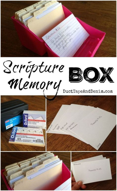 Scripture Memory Box – Only the Best Bible Study Notebook, Bible Study Tips, Scripture Study, Bible Lessons, Scripture About Family, Daily Scripture, Scripture Quotes, Bible Verse Memorization, Bible Scriptures