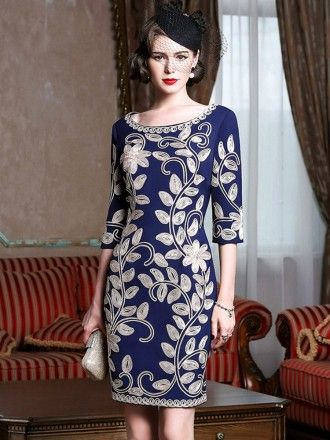 Navy Blue Leaf Pattern Formal Weddings Cocktail Party Dress For