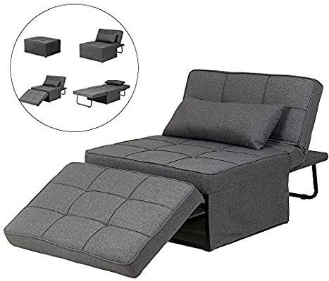 Amazon Com Diophros Folding Ottoman Sleeper Guest Bed 4 In 1 Multi Function Adjustable Ottoman Bench Guest Sof Chair Sofa Bed Modern Sofa Bed Sleeper Ottoman