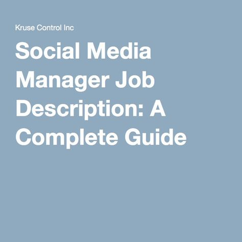Social Media Manager Job Description A Complete Guide - social media job description