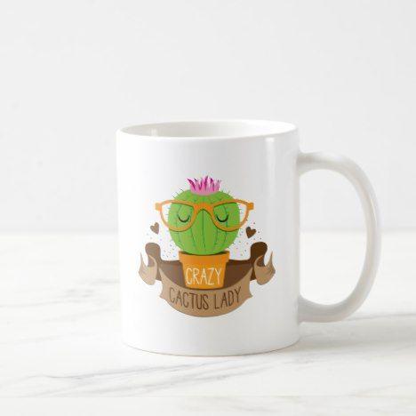 Crazy Cactus Lady Banner Coffee Mug Zazzle Com Mugs Coffee