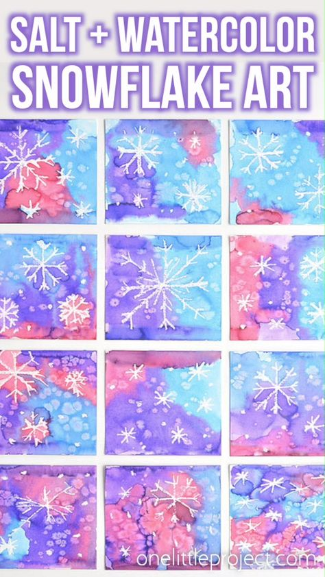 """This magic salt and watercolor snowflake art project for kids is so much fun! The snowflakes magically appear when you add the paint and the salt makes the painting look """"frosty"""". This is such a cool process art idea for kids that's fantastic in the classroom at school or on a snowy day at home this winter!"""