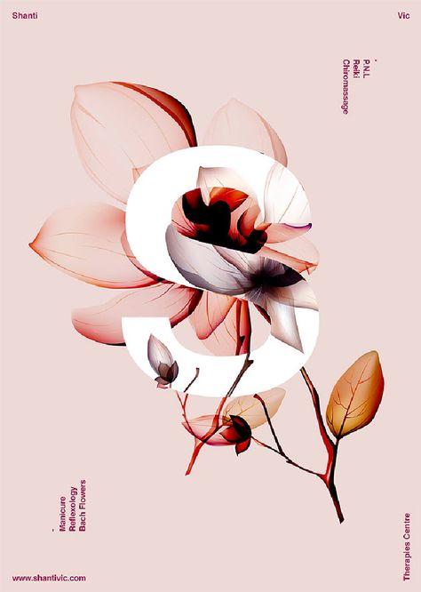 Poster Shanti / Xavier Esclusa graphique 40 Floral Typography Designs that Combine Flowers & Text