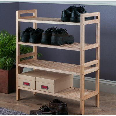 August Grove Mercury 12 Pair Shoe Rack In 2020 Stackable Shoe Rack Shoe Rack Bench With Shoe Storage