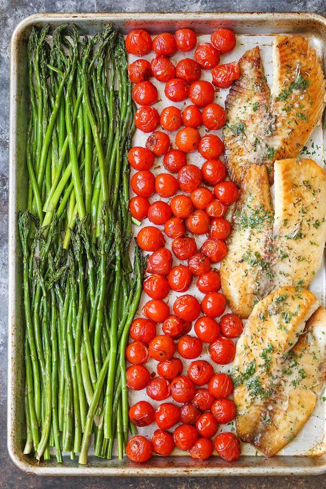 Easy 30 Minutes Sheet One Pan Garlic Butter Tilapia Dinner Recipes - 30 min. ONE sheet pan. With the butteriest, flakiest fish ever! With roasted asparagus and cherry tomatoes. Seafood Recipes, Cooking Recipes, Healthy Recipes, Cooking Games, Talpia Recipes, Baked Tilapia Recipes Healthy, Talipa Fish Recipes, Meal Prep Recipes, Fish Recipes Healthy Tilapia