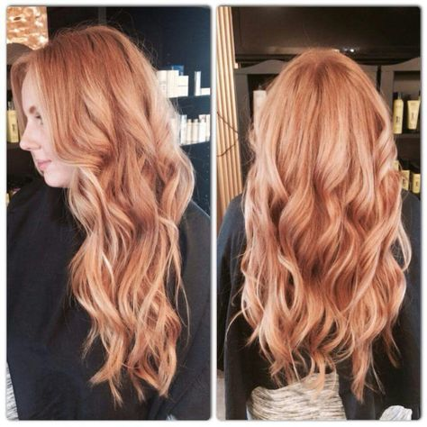 Red hair with blonde balayage