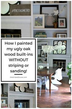 The easy way to makeover ugly oak built-in bookcases WITHOUT striping or sanding!  And it looks like a professional did it!