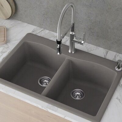 Kraus Forteza 33 L X 22 W Double Basin Drop In Kitchen Sink In 2021 Drop In Kitchen Sink Granite Kitchen Sinks Sink