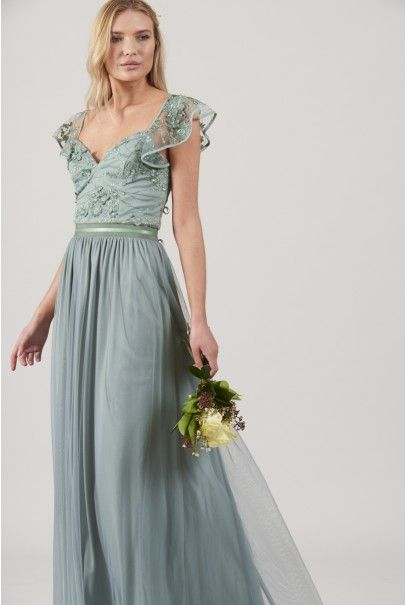 e3e440fa0 Frock and Frill Charo Embellished Maxi Dress With Frill Sleeves