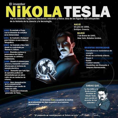 Oswaldo (@oswa.j25) nos presenta esta bonita infografía biográfica sobre el genio al que le robaron la luz, Nikola Tesla.