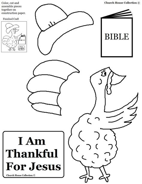 """Church House Collection Blog: Thanksgiving Turkey """"I Am Thankful For Jesus"""" Cutout Activity Sheet For Children's Church"""