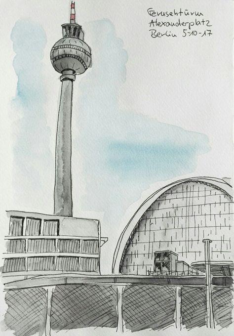 Alexanderplatz Berlin Fernsehturm Bahnhof Trainstation Urbansketching Building Illustration Travel Art Urban Sketching