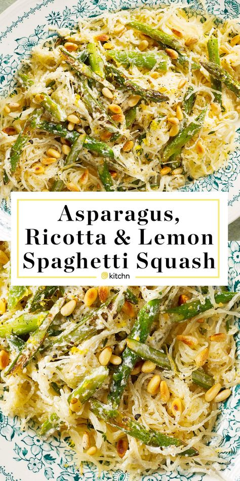 Spaghetti Squash with Asparagus Ricotta Lemon and Thyme Recipe Learning how to cook quick and easy healthy vegetarian recipes like this is a great way to stay on your low. Diet Recipes, Cooking Recipes, Cooking Games, Cooking Bacon, Cooking Ribs, Easy To Cook Recipes, Cooking Classes, Salad Recipes, Catering Recipes