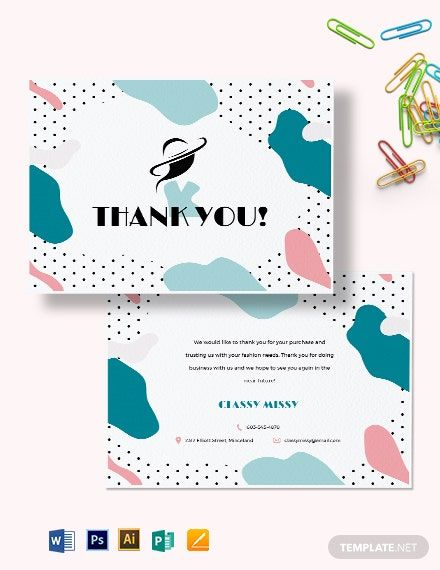 Fashion Business Thank You Card Template Word Doc Psd Apple Mac Pages Illustrator Publisher Business Thank You Cards Thank You Card Template Thank You Cards