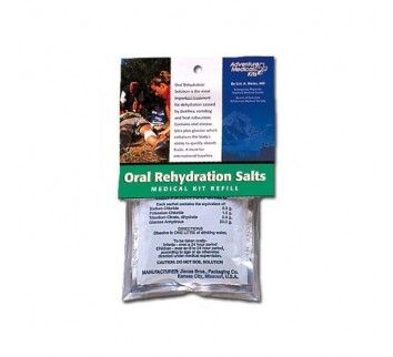 Adventure Medical Kits Oral Rehydration Salts - Use these salts mixed with water to replace fluids & electrolytes lost during diarrhea, heat illnesses, vomiting, or heavy exercise. Contains the current World Health Organization formula: Sodium Chloride, 2.6 gram; Potassium Chloride, 1.5 gram; Trisodium Citrate, dehydrate, 2.9 gram; Glucose Anhydrous, 13.5 gram. Dosage: Dissolve 1 packet in 1 liter of water. Package of 3 packets/sackets. ±$9.00 - Made in USA.