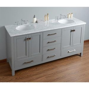 Stufurhome 72 In Gray Double Sink Bathroom Vanity With Carrara