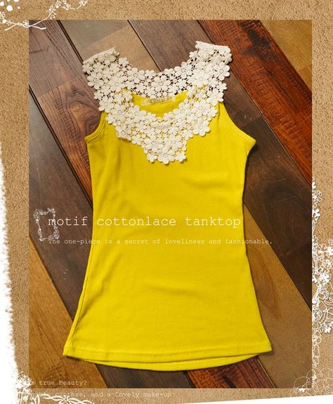 diy: Add lace to tank top. This is so cute!